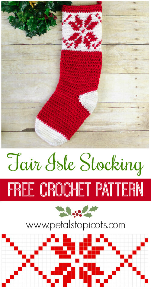 i just love the pretty snowflake design on this fair isle christmas stocking click over