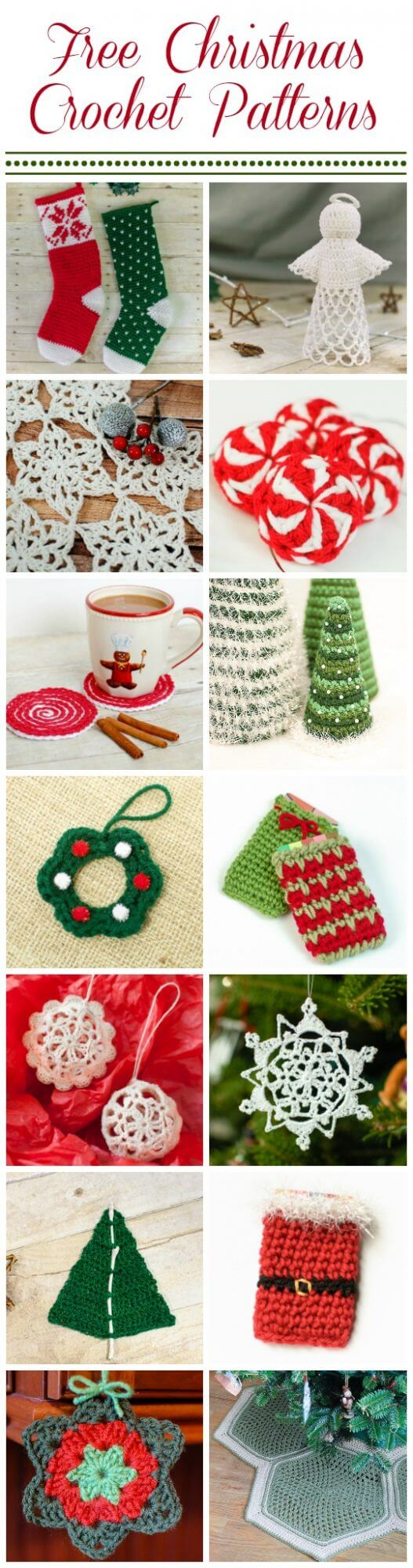 Make it a handmade holiday with these free Christmas crochet patterns! Choose from this selection of pretty ornaments, festive decor, and fun gift ideas. #petalstopicots