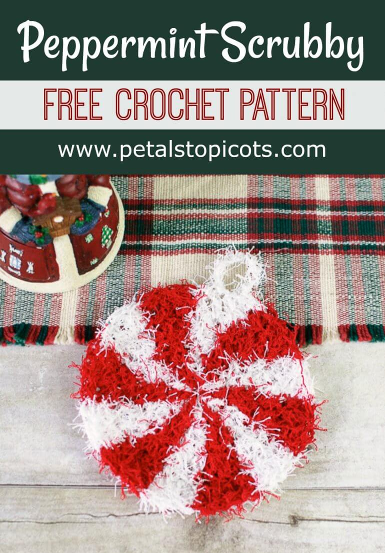 Christmas Peppermint Crochet Scrubby Pattern Petals To
