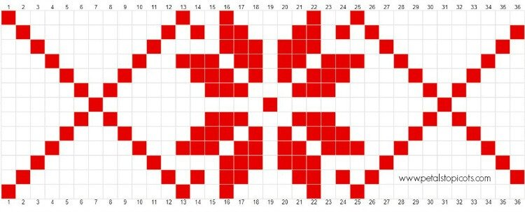 Crochet Fair Isle Snowflake Pattern | www.petalstopicots.com