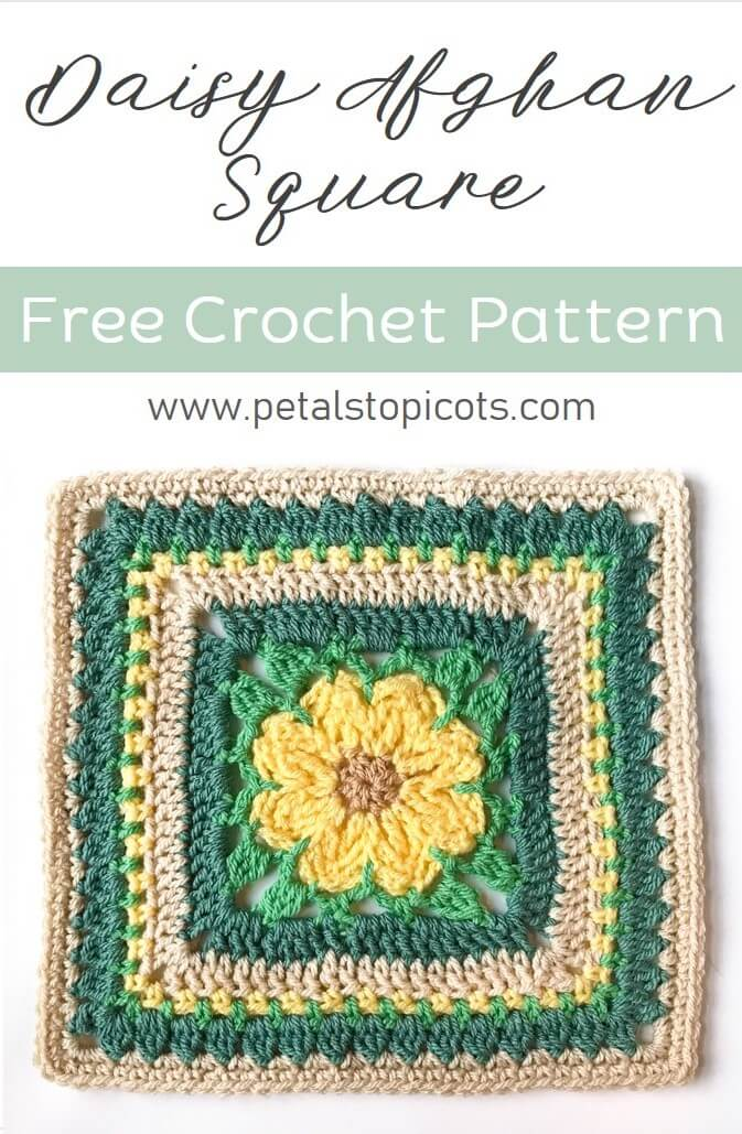 This beautiful daisy square is sure to add some bright and happy color to your afghan. #petalstopicots