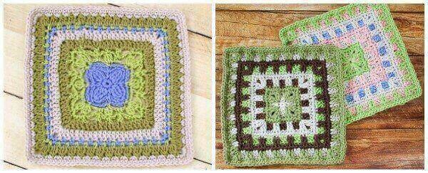 Free Afghan Square Crochet Patterns | www.petalstopicots.com | #petalstopicots