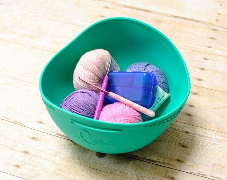 The Lazadas Project Caddy is really very ingenious, transitioning from a carry along bag to a yarn bowl! I've found myself using this little caddy quite a bit. It's perfect for smaller projects like socks, lightweight shawls, granny squares, etc. #petalstopicots