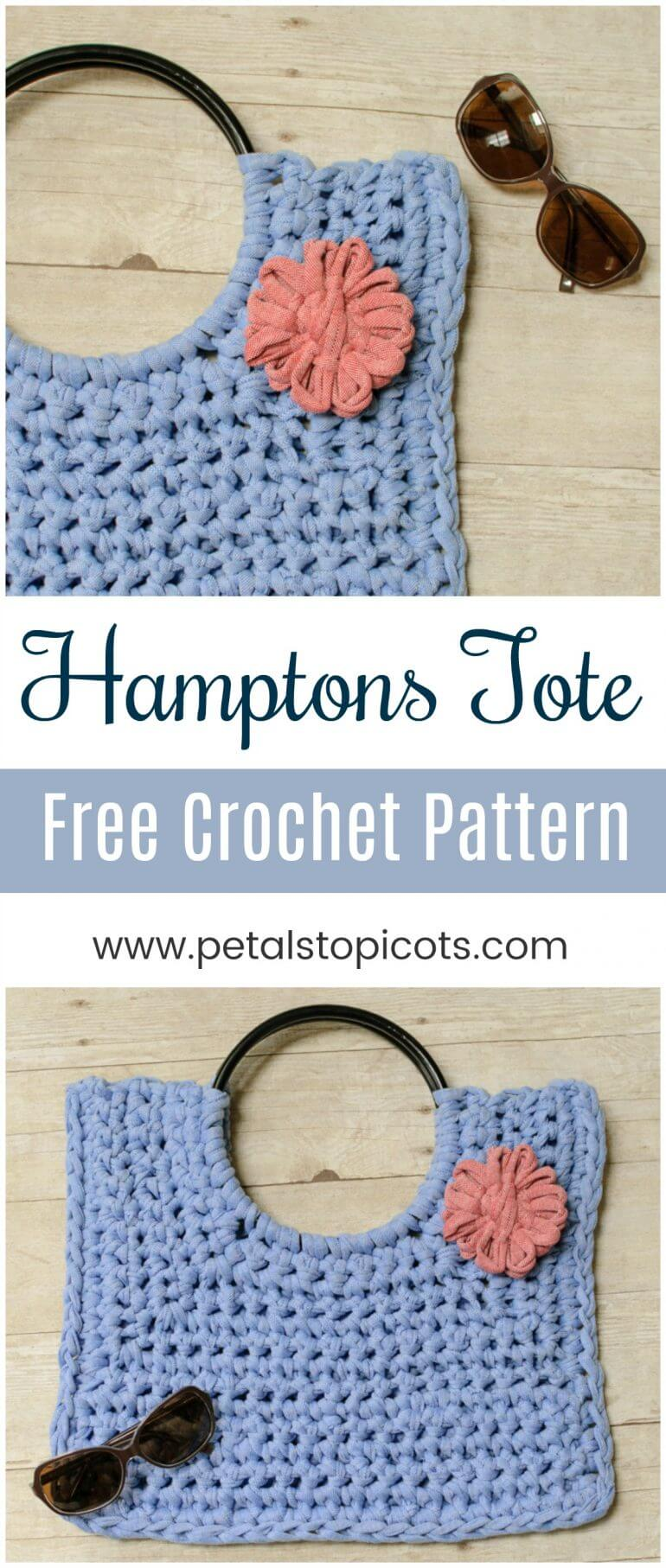 Whether you are lunching on the pier or shopping in town, you are going to love showing off your Hamptons Tote! This T-shirt yarn crochet bag pattern calls for just 1 skein of T-shirt yarn to make. Add a flower embellishment for extra interest or let the bag shine on it's own ... the choice is yours! #petalstopicots