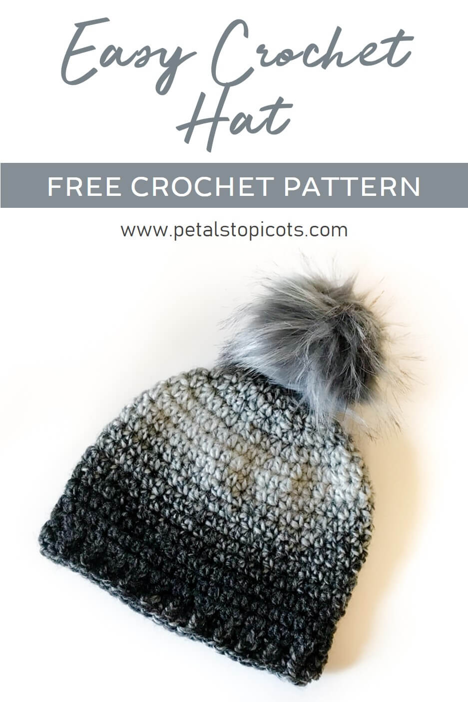 A super basic and easy crochet hat pattern for beginners and more experienced crocheters alike. #petalstopicots