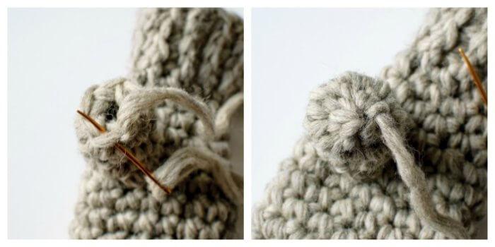 Closing crochet opening.