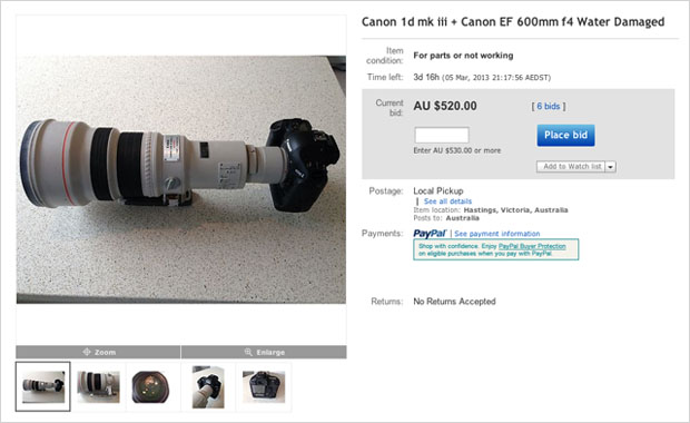 For Sale: A Canon 1D Mark III and 600mm f/4 That Took a Saltwater Bath ebaycanon
