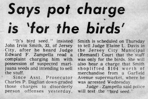 Says pot charge is 'for the birds' - The Jersey Journal, Friday, April 12, 1985