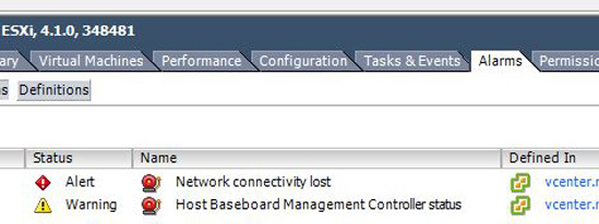 Warning Host Baseboard Management Controller status