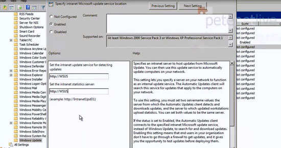 WSUS Group Policy Settings