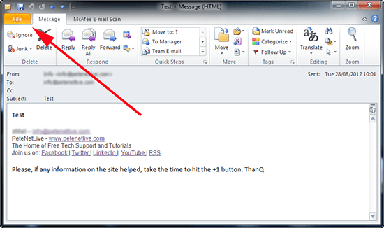 outlook 2010 email