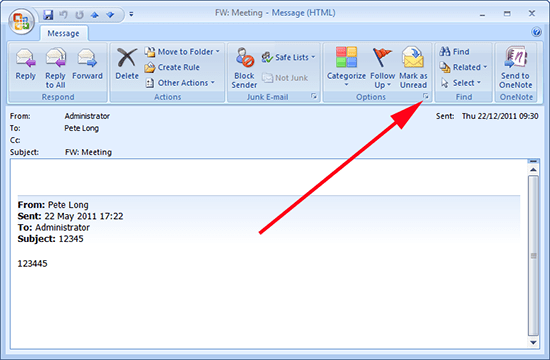 outlook 2007 email options