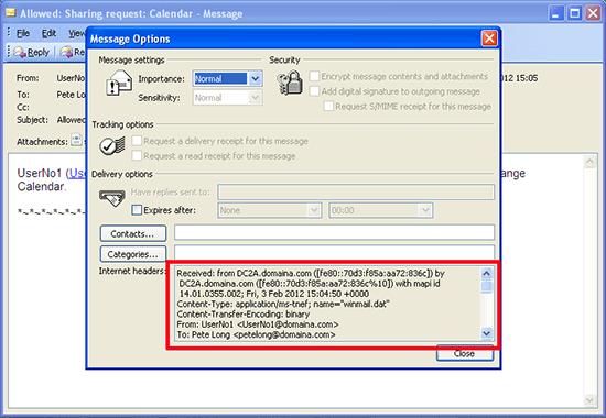 Outlook 2007 Email Headers