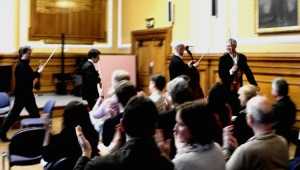 Utter pleasure, 'Intimate Letters' at Deptford Town Hall, with Mihailo Trandafilovski, Morgan Goff, Neil Heyde, after a great day of workshops with Goldsmith's composers. Thanks to Bridget MacRae for the photo. 22 5 14