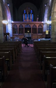 Peter rehearsing 'Il Ritorno' at Mortonhampstead Church on Dartmoor 9 1 16