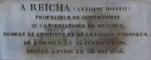 Reicha's grave stone in the Père Lachaise Cemetery, Paris