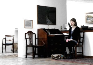 The composer listens. Kate Honey at rehearsal in the ideal surroundings of Kettles Yard. Photo Malene Skaerved