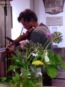 Recording Sadie Harrison in Aldbury Parish Church 21 10 14 (Photo by the composer)