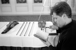 Working with Paganini's travel notebook at the Library of Congress. Photo Richard Bram