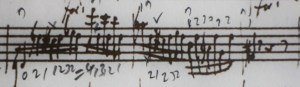 Semitone adjustments. This pattern, in three transpositions, occurs three times on one page in the MS. Of course, it could be executed by an extension from 2nd position, but my hunch, is that Mozart preferred to avoid 'fanning' of the left hand, which results, always in a degree of intonation insecurity, particularly in figuration. The pencil marks, are mine, of course, illustrating the possibility discussed. 1 10 15