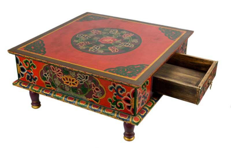 table tibetaine basse bouddhiste 62x62cm meuble tibetain tibet nepal 9775c