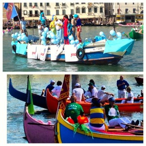 Preparing for the historical Venice Annual Regatta.