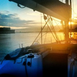 Sailing out of Venice at sunrise.