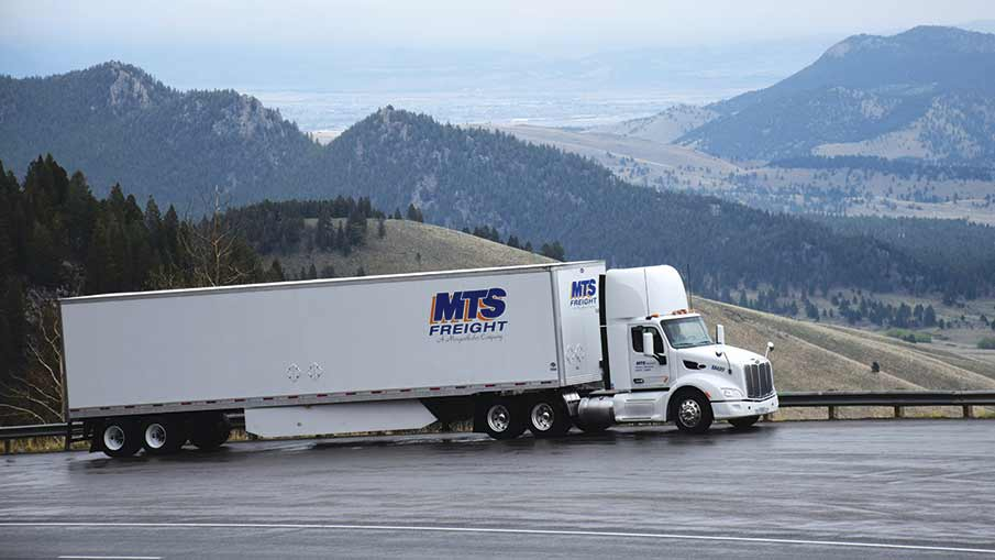 A Peterbilt Model 579 nears the Continental Divide with a full load for MTS Freight near Helena, Montana