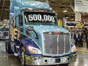 The 500,000th truck to roll of the line at Peterbilt's Denton, Texas manufacturing facility