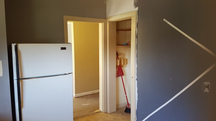 Kitchen and walls before modifications (wall removal and closet rebuilding)