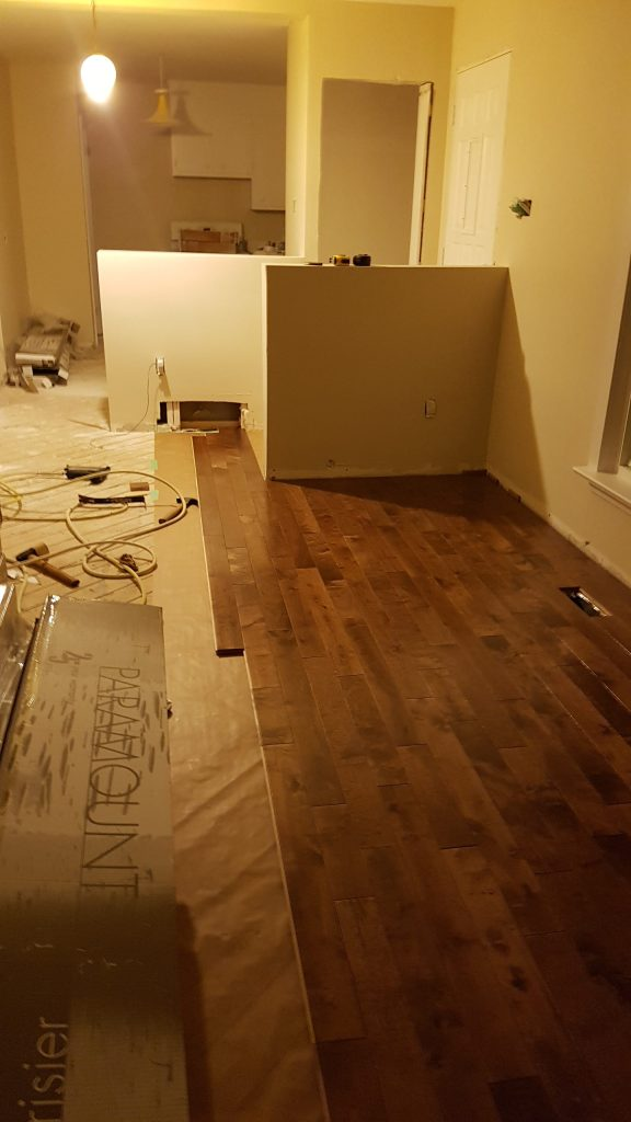 Hardwood floors being put in