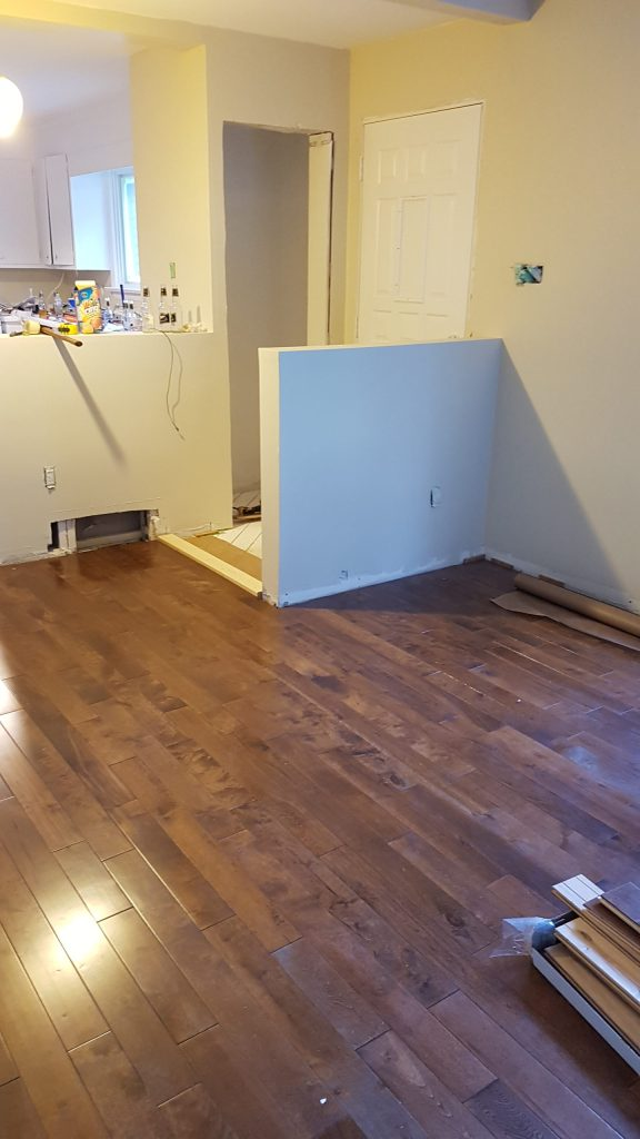 New hardwood flooring installed