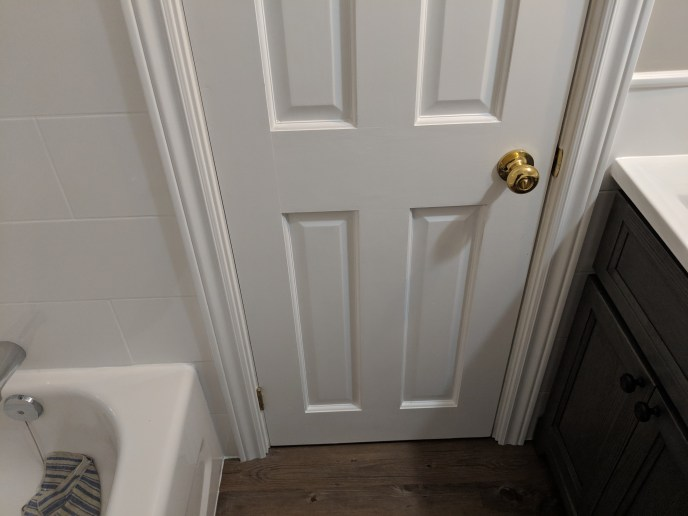 Small bathroom reno, door installed