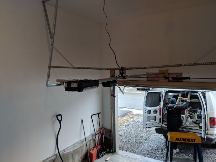 Direct Drive garage door opener installed and door reinforced