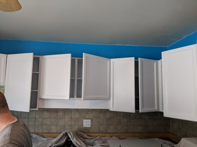 Kitchen walls and cabinets painted