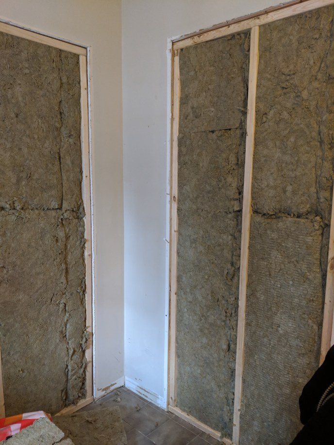 Two doorways insulated with sound proof insulation