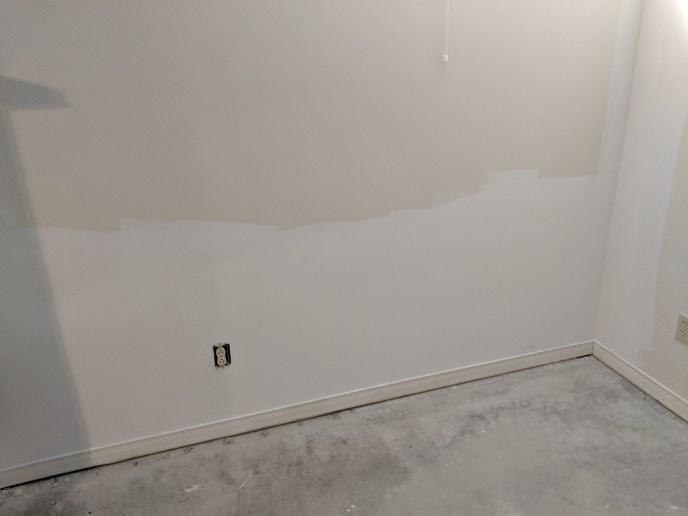 Drywall fixed after basement leak