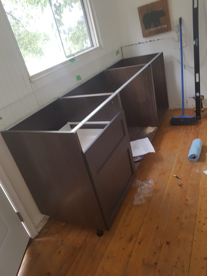 Kitchenette cabinets installed