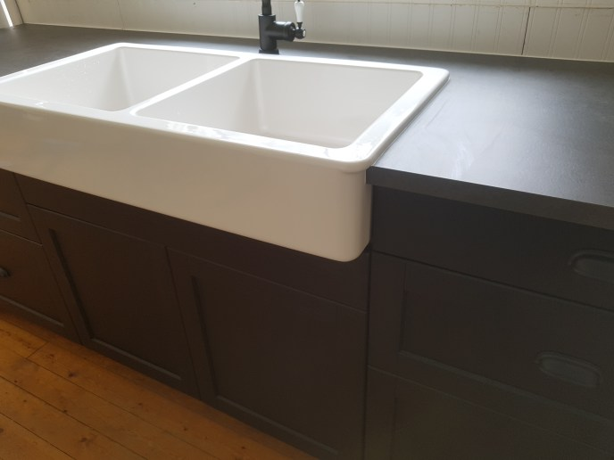 Double sink installed in new kitchenette