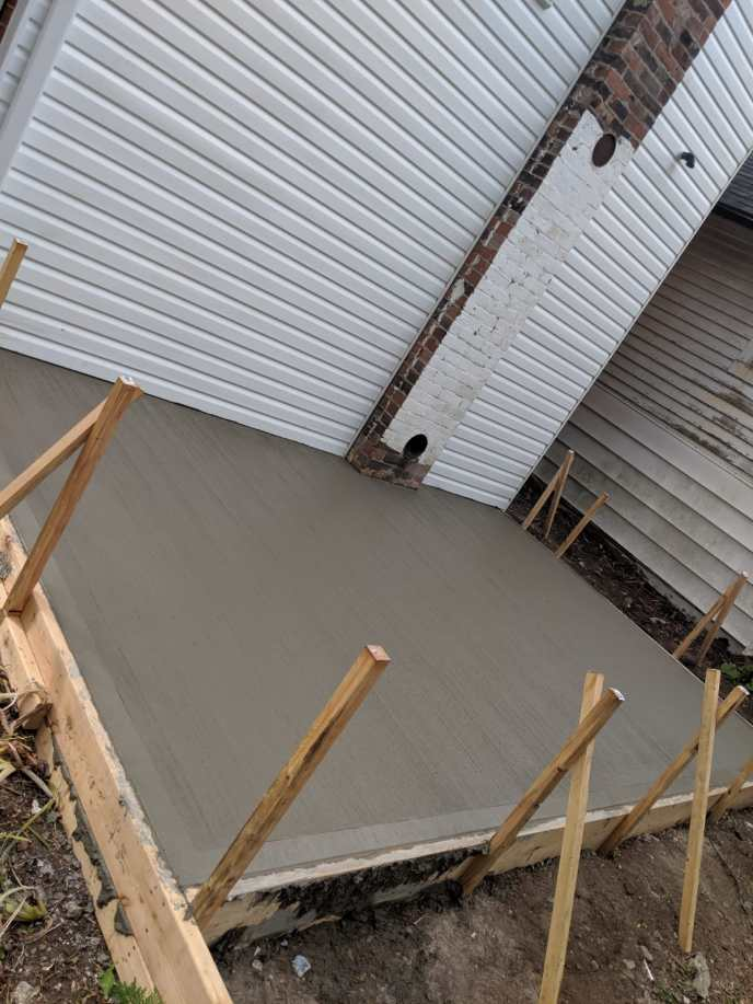 New concrete pad poured