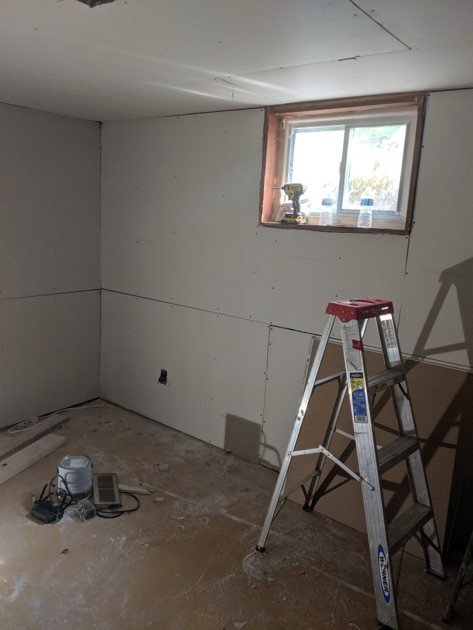 New drywall installed in basement