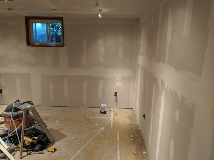 New drywall and mud in basement