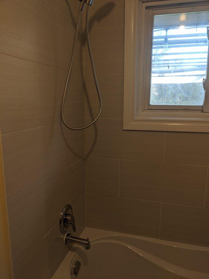 Shower and window trim installed
