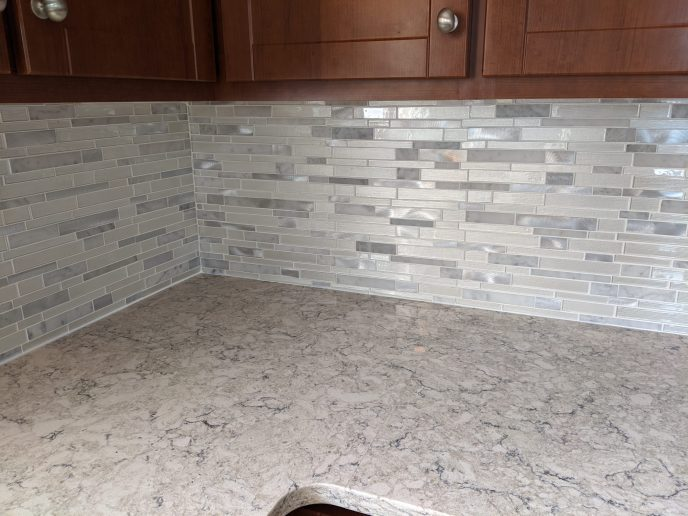 Back splash grouted