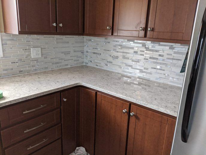 Kitchen back splash installed