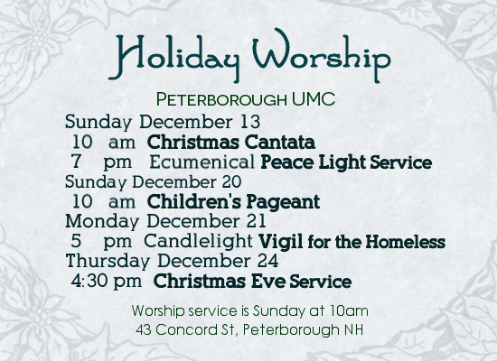 Holiday Worship Service Schedule