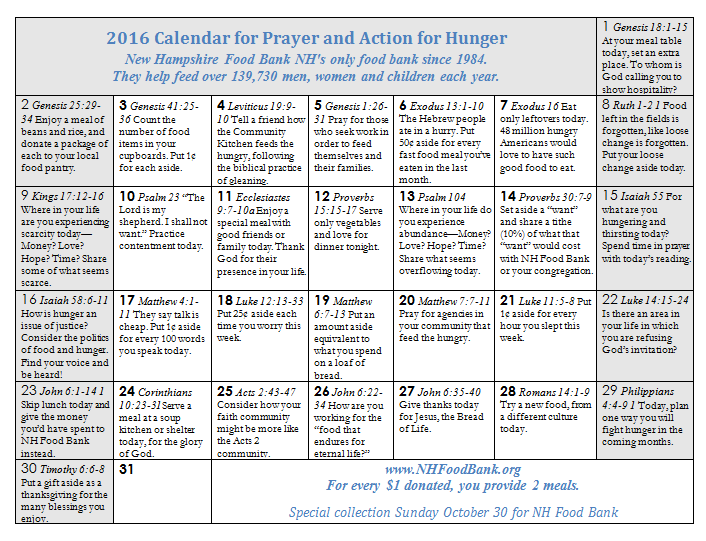 October 2016 Calendar for Prayer and Action for Hunger