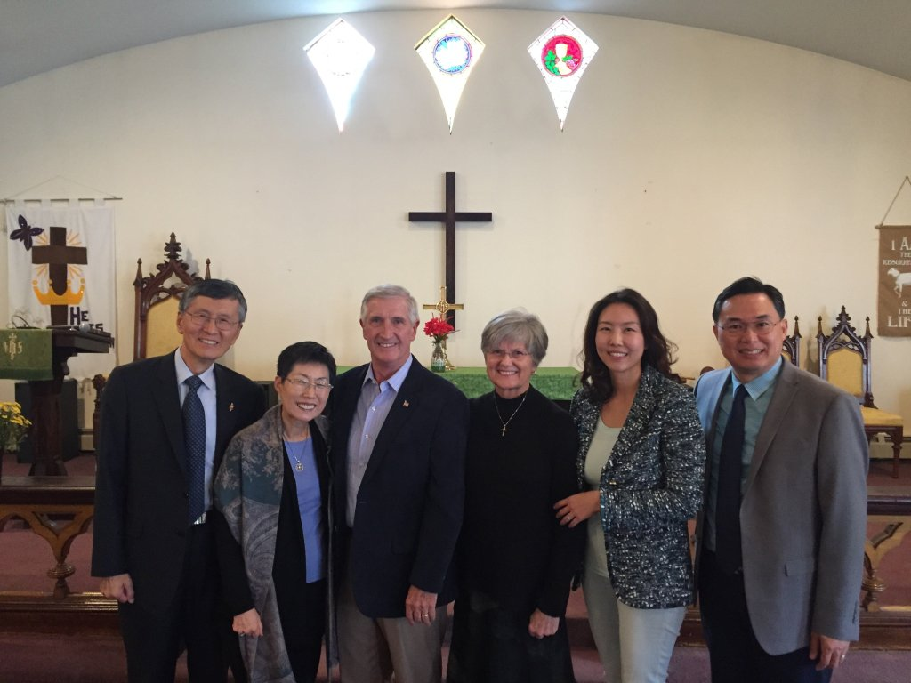 Rev. Kiok Chang and Bishop Young Jin Cho and Rev. Taesung Kang in communion picture.