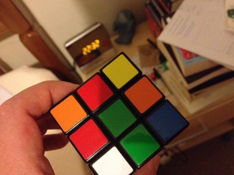 Rubik cube held up close to the camera
