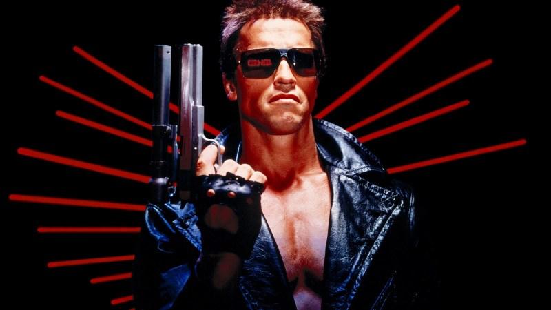Close up of Arnold Schwarzenegger as the Terminator